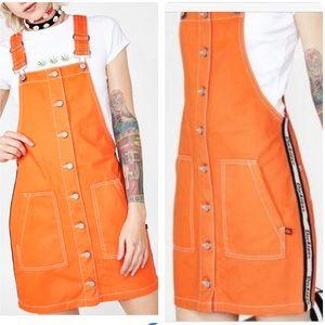 NWT DICKIES orange overall jumper dress skirt Sz S